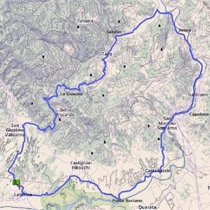 Proposta 1 itinerario ciclistico Arezzo - casa vacanza Le Fornaci Arezzo